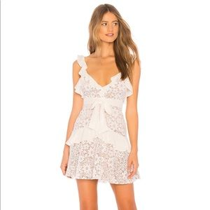 For Love and Lemons white lace mini dress
